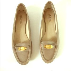 Michael Kors Leather Beige Flats Moccasin 11 M